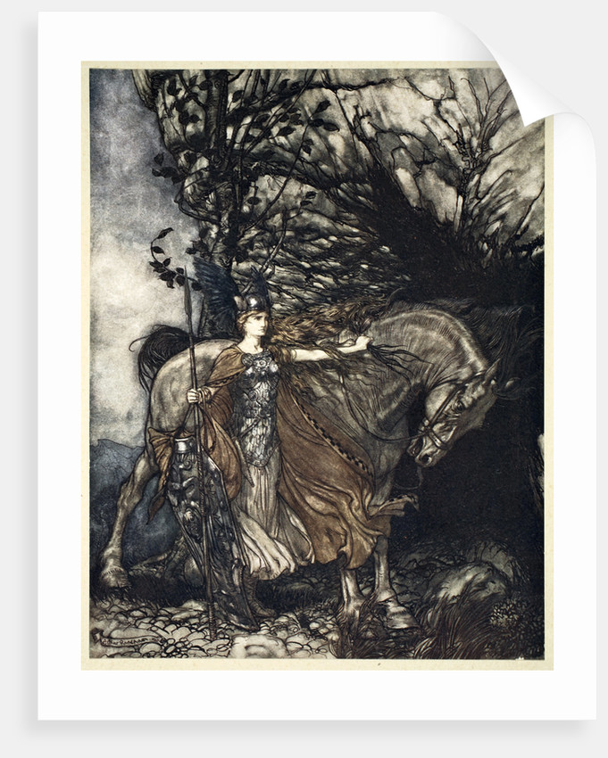 Brunnhilde with her horse at the mouth of the cave by Arthur Rackham