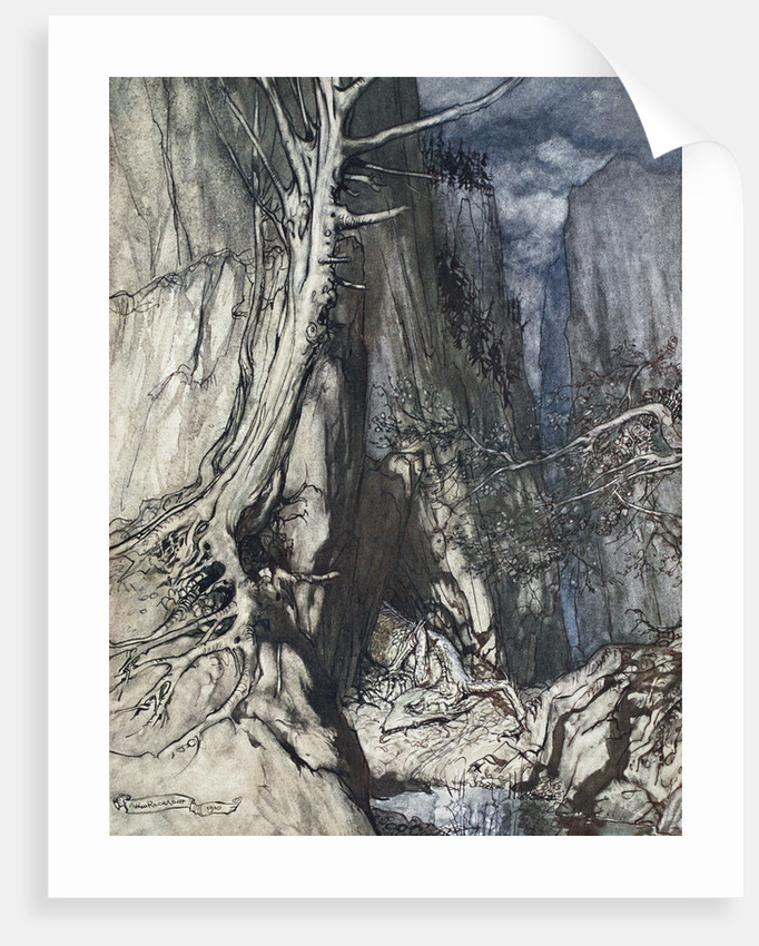 There is a dread Dragon he sojourns, and in a cave keeps watch over Alberich's ring by Arthur Rackham