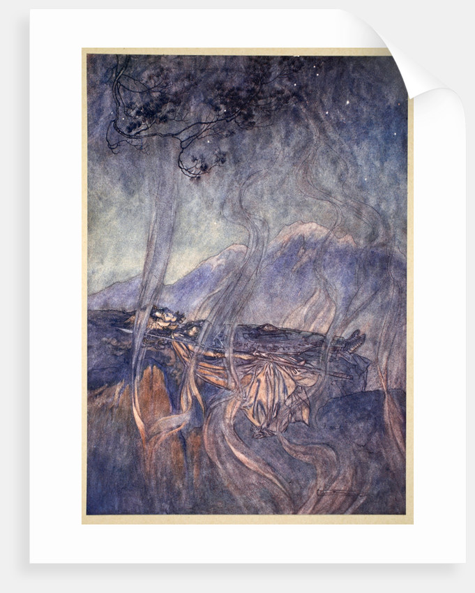 The sleep of Brunnhilde by Arthur Rackham