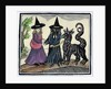 A black and a white witch with a devil animal by Anonymous