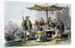 Rice Sellers at the Military Station of Tong-Chang-Too by Thomas Allom
