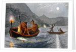 Native Americans fishing by torchlight in North America by H Merke