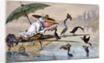 Cormorants presenting fish to a pelican in a punt under an umbrella by Ernest Henry Griset