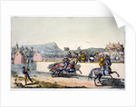 Knights jousting at a tournament by Anonymous