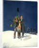 Charles Fellows with William Hawes, plants a baton on the summit of Mont Blanc by WS Hastings