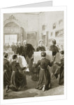 Bluecoat schoolboys showing their drawings to Queen Victoria by Anonymous