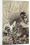 Alberich drives in a band of Nibelungs with gold and silver treasures by Arthur Rackham
