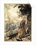 Brunnhilde stands for a long time, dazed and alarmed by Arthur Rackham
