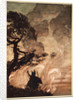 As he moves slowly away, Wotan turns and looks sorrowfully back at Brunnhilde by Arthur Rackham