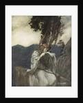 Brunnhilde kisses the ring that Siegfried has left with her by Arthur Rackham