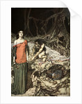 The wooing of Grimhilde, the mother of Hagen by Arthur Rackham