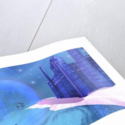 A schooner sails past a blue castle on an alien planet. by Corey Ford