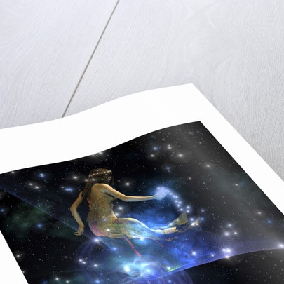 Celesta, spirit creature of the universe, spreads stars throughout the cosmos. by Corey Ford