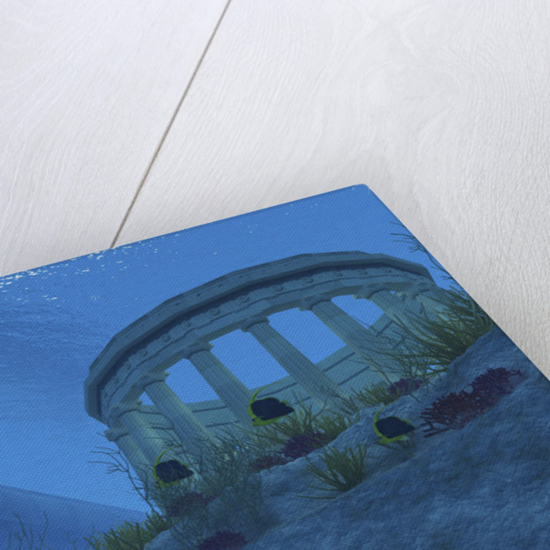 A submarine passes over a Greek temple ruin near a reef. by Corey Ford