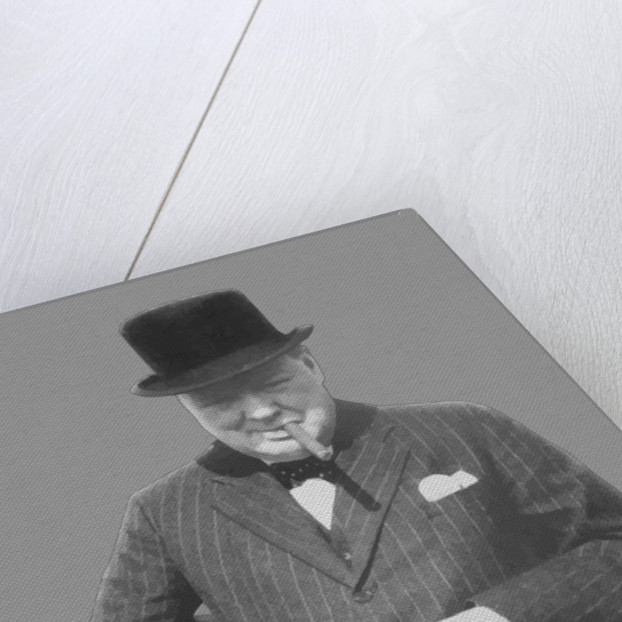 Digitally restored vector photo of Sir Winston Churchill with a Tommy Gun. by John Parrot