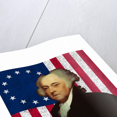 Digitally restored vector portrait of John Adams against the American Flag. by John Parrot
