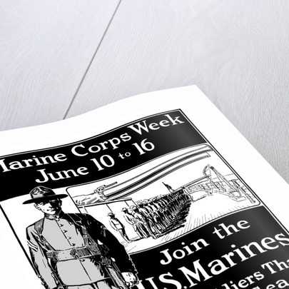 Vintage World War One poster showing a Marine standing at attention. by John Parrot