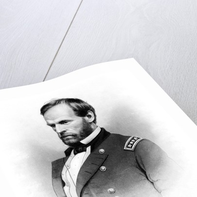 Vintage Civil War print of General William Tecumseh Sherman. by John Parrot