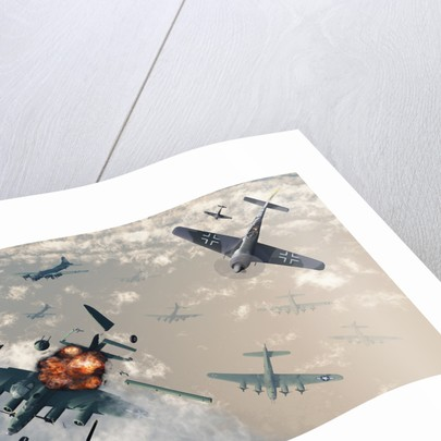 B-17 Flying Fortress bombers encounter German Focke-Wulf 190 fighter planes. by Mark Stevenson