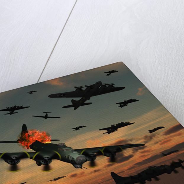 A B-17 Flying Fortress is set ablaze by a German Interceptor Fighter Plane. by Mark Stevenson