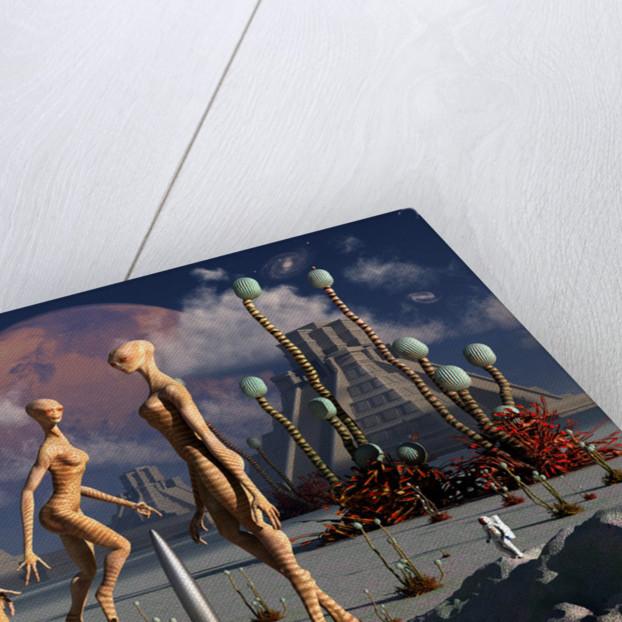 A group of alien reptoid beings find a small alien rocketship. by Mark Stevenson
