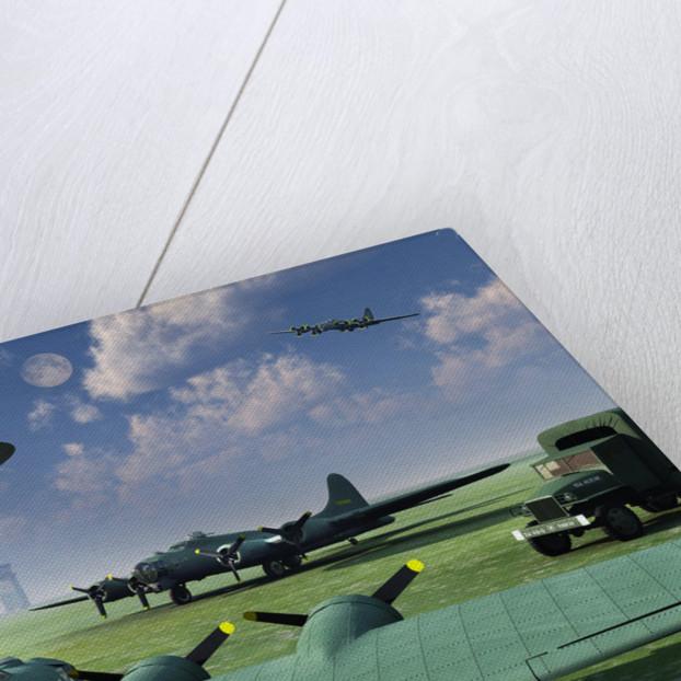 An alien UFO flying low over an American airbase. by Mark Stevenson