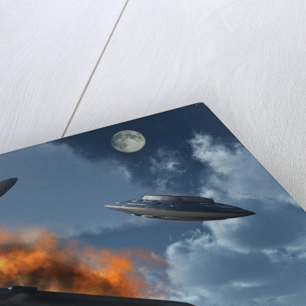 UFO's from different alien races fighting each other in the Earth's atmosphere. by Mark Stevenson