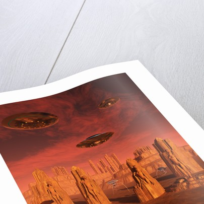 Members of the planets advanced civilization leaving Mars. by Mark Stevenson