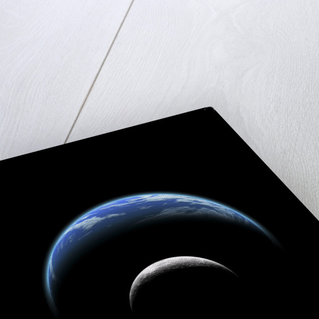 An artist's depiction of a large planet covered by oceans with a thick atmosphere. by Marc Ward