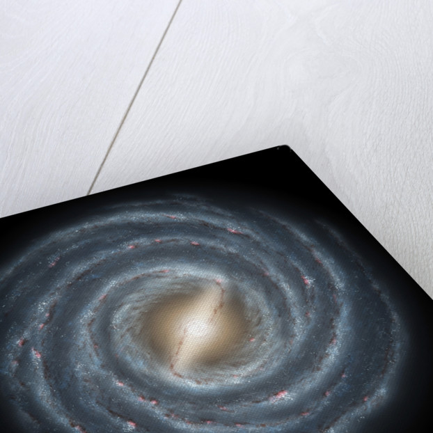 A view of our own Milky Way Galaxy and its central bar as it might appear if viewed from above. by Anonymous