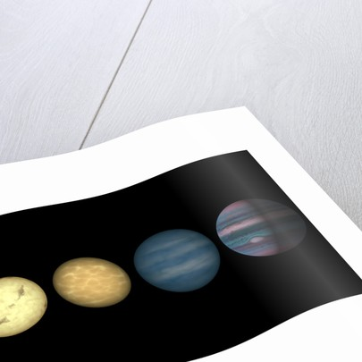 An artist's rendition comparing brown dwarfs to stars and planets. by Anonymous