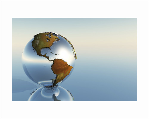 A sphere holding North and South America reflects on a mirror. by Corey Ford