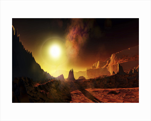 A large sun heats this alien planet which bakes in its glow. by Corey Ford