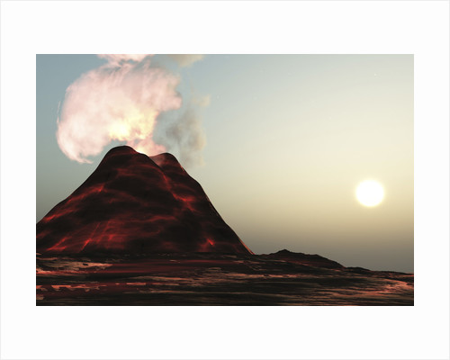 A new volcano made of molten lava expels vibrant smoke plumes. by Corey Ford
