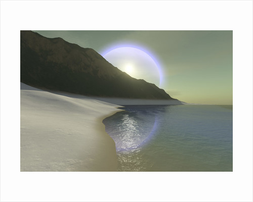A halo surrouds the sun over this white sand beach. by Corey Ford