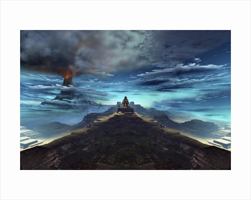 A volcano erupts near an ancient Mayan temple. by Corey Ford