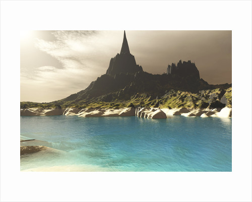 A mountain spire overlooking the turquoise waters of a sea inlet. by Corey Ford