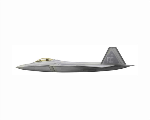 Illustration of a Lockheed Martin F-22 Raptor. by Anonymous