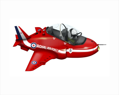 Cartoon illustration of a Royal Air Force Red Arrows Hawk airplane. by Anonymous