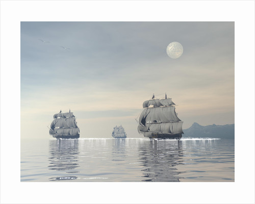 Three old ships sailing in the ocean under a full moon. by Elena Duvernay