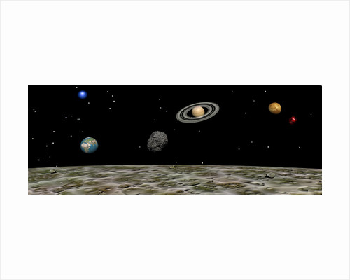 View of the universe and planets as seen from a distant moon. by Elena Duvernay