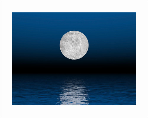 Beautiful full moon against a deep blue sky over the ocean. by Elena Duvernay