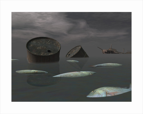 Dead fish and oil tanks in polluted ocean near tanker wreck. by Elena Duvernay