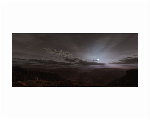 Artist's concept of the Sun rising over Valles Marineris on Mars. by Frieso Hoevelkamp