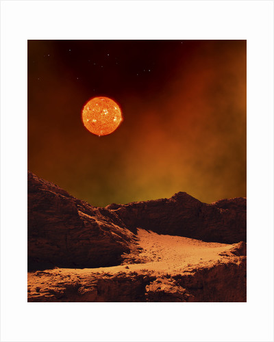 A rugged planet landscape dimly lit by a distant red star. by Frank Hettick