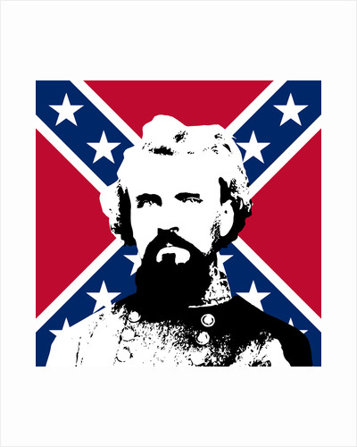 Vector artwork of General Nathan Forrest in front of the Confederate flag. by John Parrot
