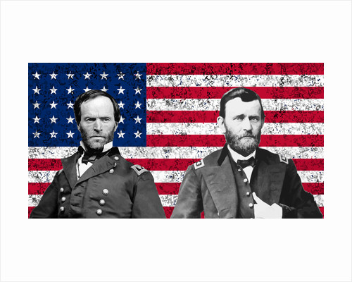 Vector artwork of General Sherman and General Ulysses S. Grant in front of American flag. by John Parrot