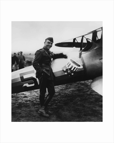 Digitally restored vector artwork of Eddie Rickenbacker standing next his fighter plane. by John Parrot