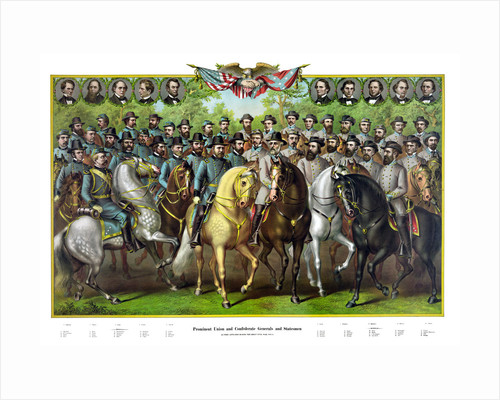 Digitally restored print featuring Prominent Union and Confederate Generals. by John Parrot