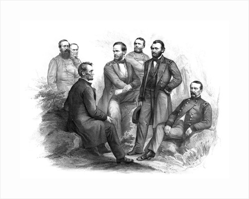 Digitally restored Civil War artwork of Abraham Lincoln and his commanders. by John Parrot